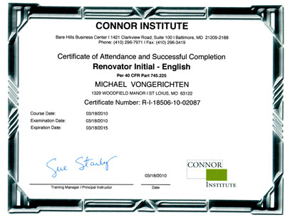 Connor Institute | Renovator Initial - English